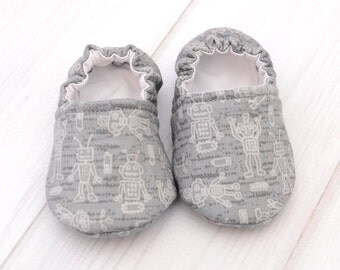 Soft Baby Shoes - Gray Robots - Infant Crib Shoes - Waterproof Walking Shoes - Baby Boy Moccasins - 1425