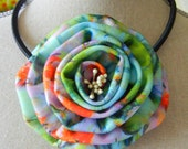4 Inch Fabric Flower Necklace, Valentine's Day Necklace