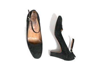 70s french  Mary janes  black leather us7 fr38