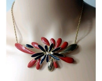80s ORENA PARIS necklace red gold and black