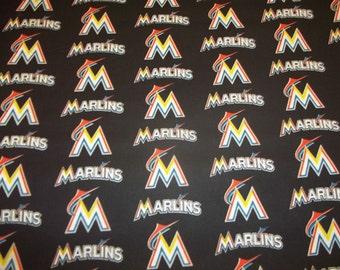 MIAMI MARLINS   - MLB Baseball   Fabric 1/2  Yard  Piece 100% Cotton Brand New design for 2016