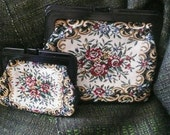 Women's tapestry purse and coin purse, floral design, man made material, plastic clasp, metal frame, single section, black fabric lining