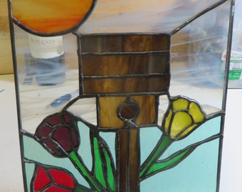 Stained Glass Panel, Birdhouse and Tulips to Celebrate Spring