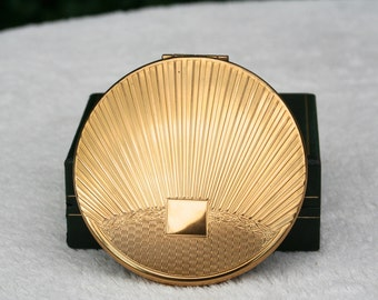 FREe WORLDWIDE SHIPPING Vintage Art Deco Design Gold Tone KIGU Powder Compact Mirror 1950s Unused Condition