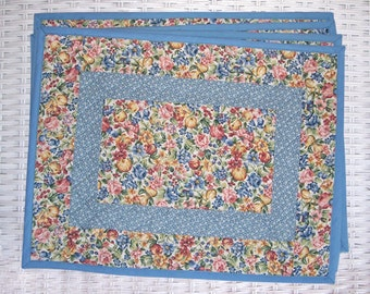 Quilted Floral and Fruit Fabric Placemats