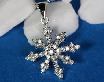 Snowflake Necklace, Sterling silver Sparkle CZ snowflake necklace . Silver snowflake . Let it snow, Snowflake  Jewelry By Mony-Art