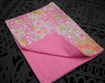 Retro Fabric Baby Blanket, Groovy Flower Print, Soft Flannel, Medium Size