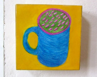 Gouache Painting -  Kitchen Art - Blue Cup - Cradled Wood Panel - Yellow - Sealed with Encaustic Wax - 6 x 6