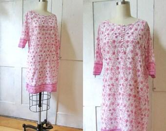 Boho Indian Print Lightweight Cotton Dress - Resort Wear - Hippie - Knee Length Dress