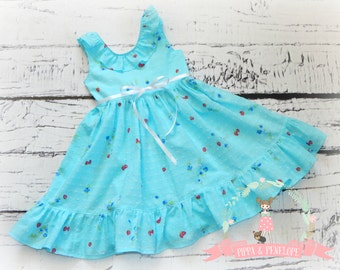 Little Girl Dress, Summer Dress, Strawberry Dress, Boutique Dress, Boutique Clothing, Blue Dress, Swiss Dot