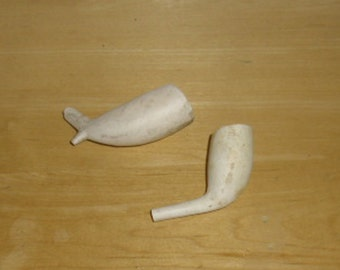 Vintage Clay Pipes - 2 Clay Pipe Ends, Gypsy Fortune Teller Pipes, Capnomancy Pipes, Fortune Telling by Smoke, Estate Purchase
