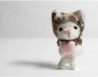 Mew Mew Cat - needle felted wool brooch, crystal bead