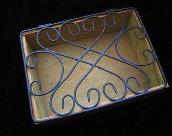 Wrought Iron Box Vintage Trinket Box Rectangular Metal Wooden Jewelry Display