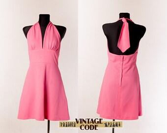 Hot Pink Halter Mini dress / 60s 70s Mini dress by Devonshire Lady / Open Back Halter dress / size Medium