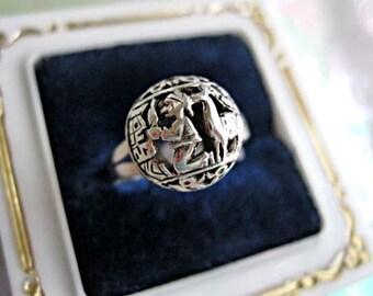Peru Incan Folklore Ring, Sterling Peruana 925, Man Llama Pierced Carving, Domed Orb Globe, Silver Peru Peasant Glyph, Hallmarks, Size 7