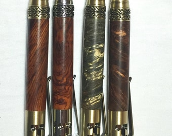 Gearshift pen in stabilized burl or Cocobolo wood, 5 speed tire tread hubcap crowbar bolt action parker refill.  Mechanic car enthusiast