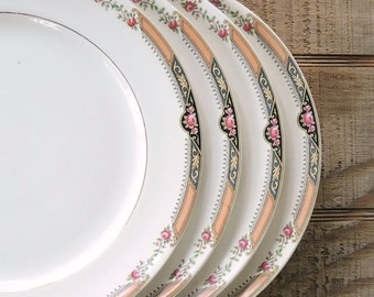 Vintage Homer Laughlin Dinner Plates Set of 4, Tea Party Plates Cottage Style Weddings, Bridesmaid Luncheon Dinner Plates, Ca. A38 N6