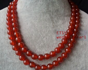 10 mm red agate Necklace, double strand red bead necklace, wedding necklace, bridesmaid jewelry, red agate bead necklace, statement necklace