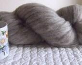 1 lb Natural Medium Grey Local Long Wool Blend Un-dyed Carded Roving, knit spin felt dye doll craft stuffing dryer balls wool fiber