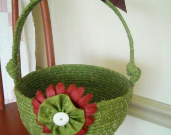 Fabric Basket, Fabric Coiled Basket, Vintage Button, Green Fabric by Designer Debbie Beaves