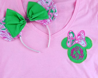 Minnie mouse ears applique shirts with lilly pulitzer print fabric