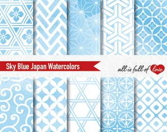 Blue Watercolor Digital Paper Pack Serenity Blue Patterns Asian Backgrounds Baby Boy Shower Decorations Japanese Digital Graphics