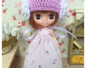 "Petite Blythe / Little Dal Outfit : ""Flower in Purple Set"" (Dress and Crochet hat)"