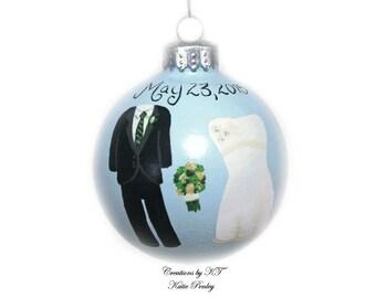 Custom Wedding Ornament Hand Painted Tux Wedding Dress Made to Order