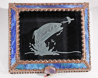Etched, Trout, Fish, Fishing, Fly Fishing, Stained Glass, Box, Keepsake, Display, Jewelry Box, Souvenir Box, Souvenir, Collection Display