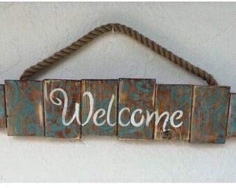 Welcome Sign, wooden Welcome Door Sign, welcome plaque