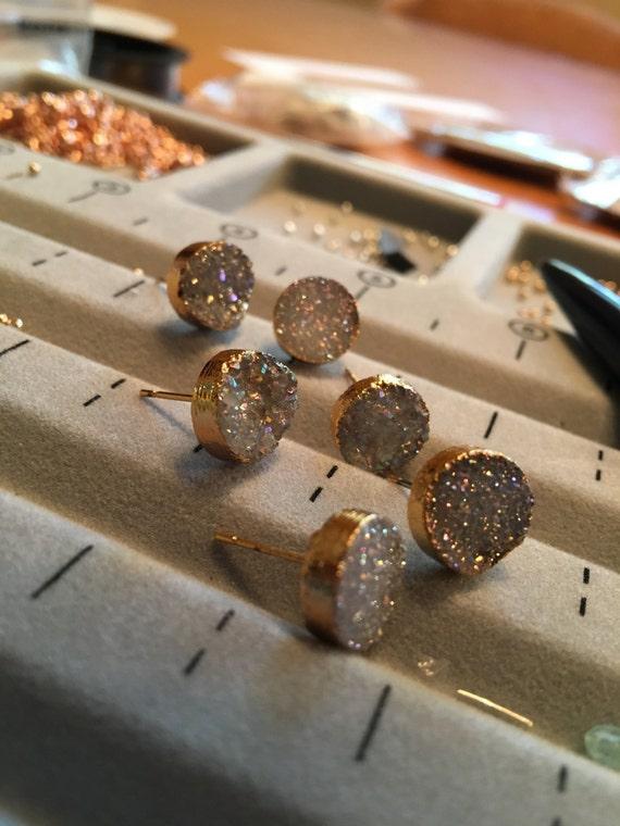 Druzy Quartz Earrings, gold electroplated earrings