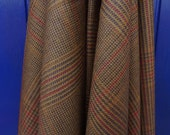 Vintage Scottish wool fabric, brown and tan check - SALE