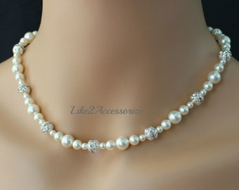Classic Bridal Necklace. Champagne White Necklace. Bridesmaid Beaded Necklace. Wedding Accessories Jewelry Bridal Jewelry Set Bidesmaid Gift