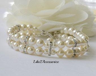 Swarovski White Ivory Pearl Bridal Cuff Bracelet Two Strand Bracelet Bridal Jewellery Wedding Bracelet Bridesmaid Gift Multistrand Bracelet