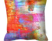 DANCE WITH ME Cozy Art Suede Throw Pillow Cushion Cover Decorative Abstract Painting Fall Pink Orange Aqua Brushstrokes Modern Decor Cushion