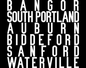 Maine subway sign art repping Portland, Lewiston, Bangor, South Portland, Auburn, Biddeford, Sanford, Saco, Waterville