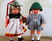 Vintage Doll Ornaments, Hansel and Gretel, Folk Dolls, German,  Mid Century, Collectible, kitsch, Figurine,