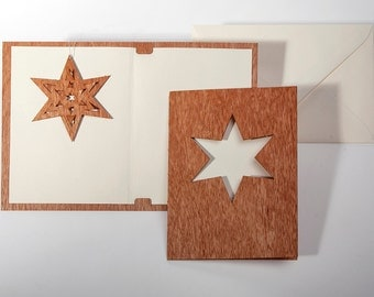 Greeting cards with paper insert and envelope - 3 folding star cards