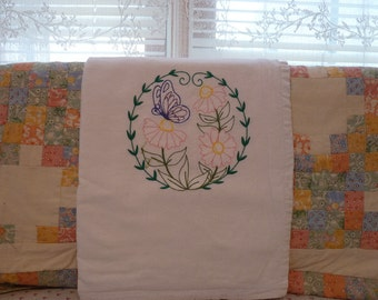 Butterfly Alights Flour Sack Dish Towel