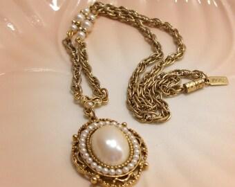 Faux Pearl 1928 Pendant Necklace