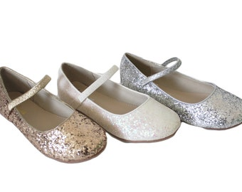 GIRLS SHOES - Toddlers, Little Kids, Big Kids Silver, Gold and White glitter mary-jane flats for frozen theme, flower girls and princess