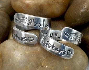 Running Friends - Sole Sisters - Best Friend Rings - Running Jewelry - Friendship Rings - Hand Stamped Rings - Wrap Rings