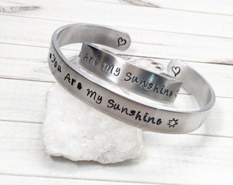 "Mom and Daughter Jewelry,Mother Daughter Bracelets,Personalized Hand Stamped Cuffs,Sister Bracelets,Best Friend Bracelets,3/8"" wide"