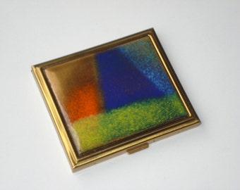 Vintage Bovano Compact - Brass Enamel Square Powder Case -  1960's Women's Accessories