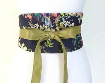 """Reversible Obi Belt by Lorella Creations / Funky Bags 'n Bibs """"Harmonie"""" navy-blue, flowers, japanese"""