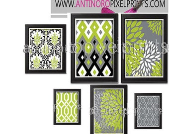 Art Collage Damask Flowers Chartreuse Green Greys Black Modern Print Collection - Set of 6  Prints (2) 11x14, (2) 8x10, (2) 5x7   (UNFRAMED)