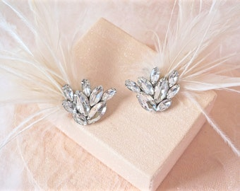 Ivory Feather Shoe Clips, Ivory Bridal Shoe Clips, Wedding Shoe Clips, Rhinestone Shoe Clips, Ivory Rhinestone Shoe Clips