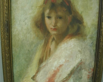 Vintage Original Painting of Young Woman, Wistful Expression, Impressionist Portrait