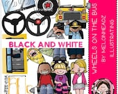 Wheels on the Bus clip art - BLACK AND WHITE
