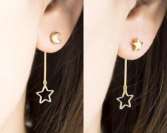 Crescent Moon Star Front Back Earrings, Gold  / Silver, Whimsical Astronomy Jewelry, ej de